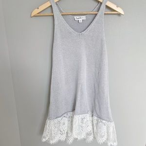 Cloud Chaser Gray Knit Tank Top Lace Trim XS
